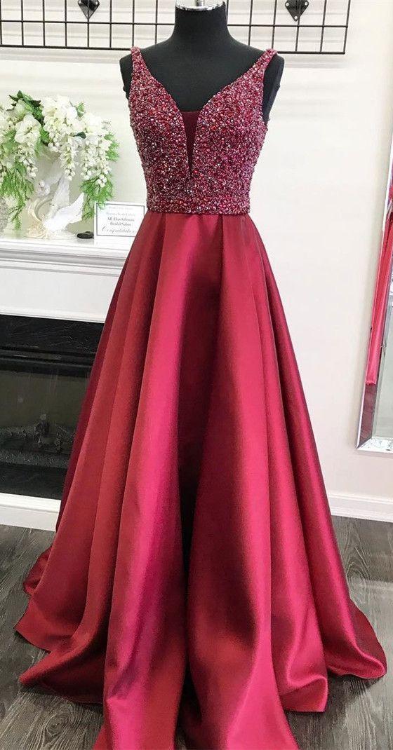 A-line V-neck Sleeveless Burgundy Beading Long Prom Dress 6105c1cd6
