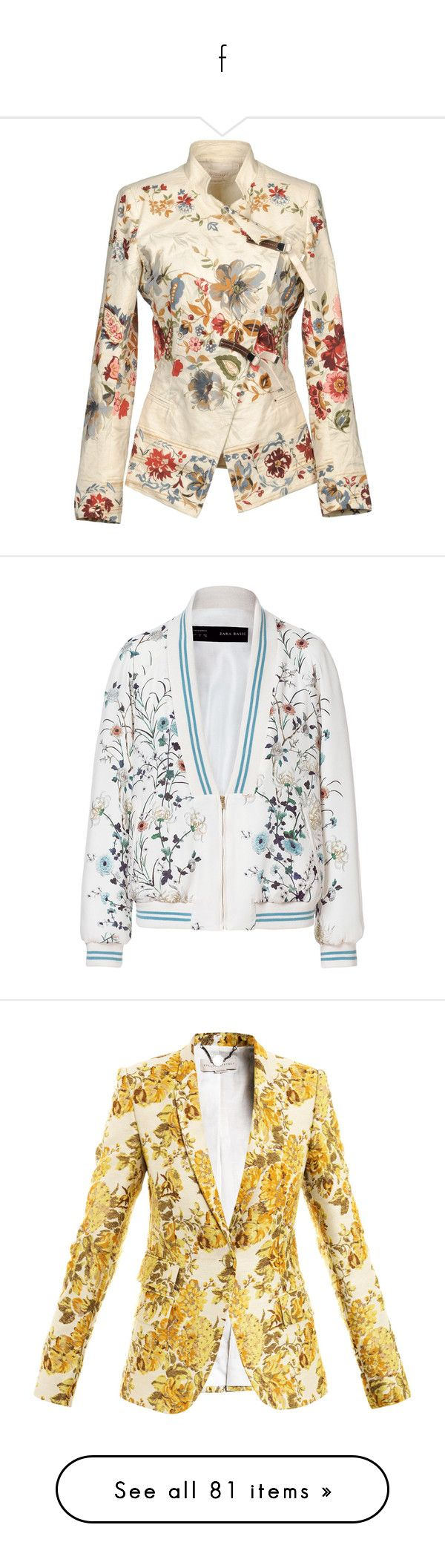 """f"" by anabellaaaa ❤ liked on Polyvore featuring outerwear, jackets, blazers, tops, coats, ivory, double breasted blazer, flower print blazer, cotton blazer and mandarin collar blazer"