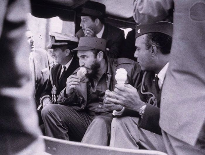 Unexpected Snapshots of the 20th Century--Fidel Castro Subdued--The Cuban dictator enjoys ice cream while visiting an American military camp.