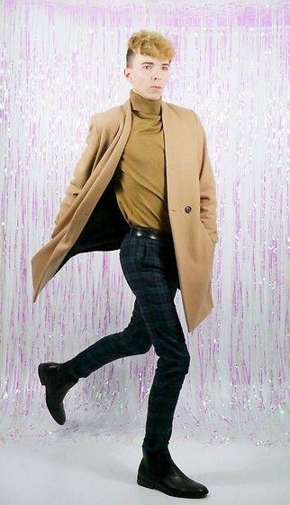 Get this look: http://lb.nu/look/8506861  More looks by Luke Heywood: http://lb.nu/curlywurlyboy  Items in this look:  Asos Collarless Coat, New Look Camel Roll Neck, Topman Tartan Trousers, New Look Chelsea Boots   #chic #dapper #formal #tartan #camel #coat #skinny #topman #asos