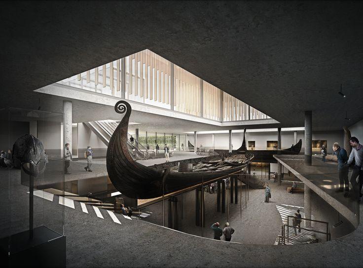 Interior perspective. Vikingship Museum. Vikingtidsmuseet, Bygdøy. 2016. Hille Strandskogen Arkitekter AS.