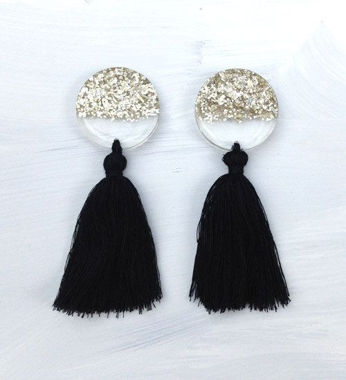 Silvery Moon with Tassel - Silver Glitter Earrings - Statement - Concrete Jellyfish by ConcreteJellyfishCo on Etsy
