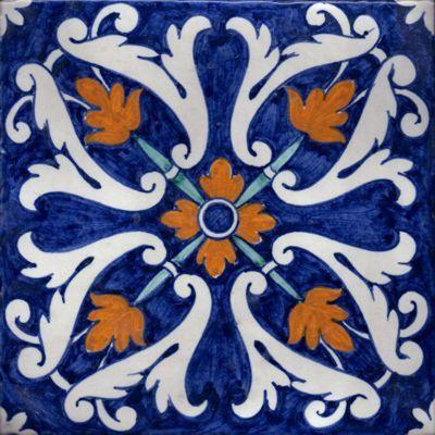 Colored ceramic tile from Ceramiche Dell'Aquila company, caltagirone, sicily.