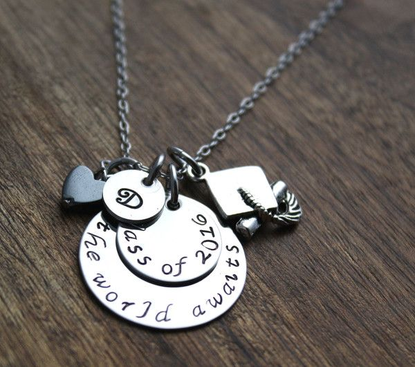 Graduation Necklace, The World Awaits Class of 2016...2017 cost $29.00 plus shipping