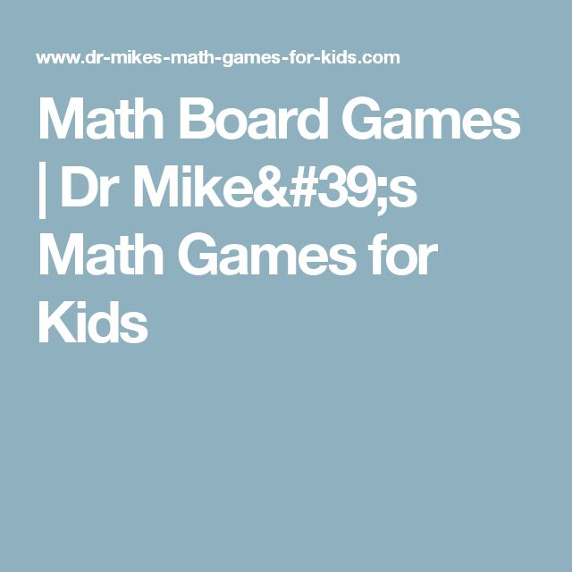 Math Board Games | Dr Mike's Math Games for Kids