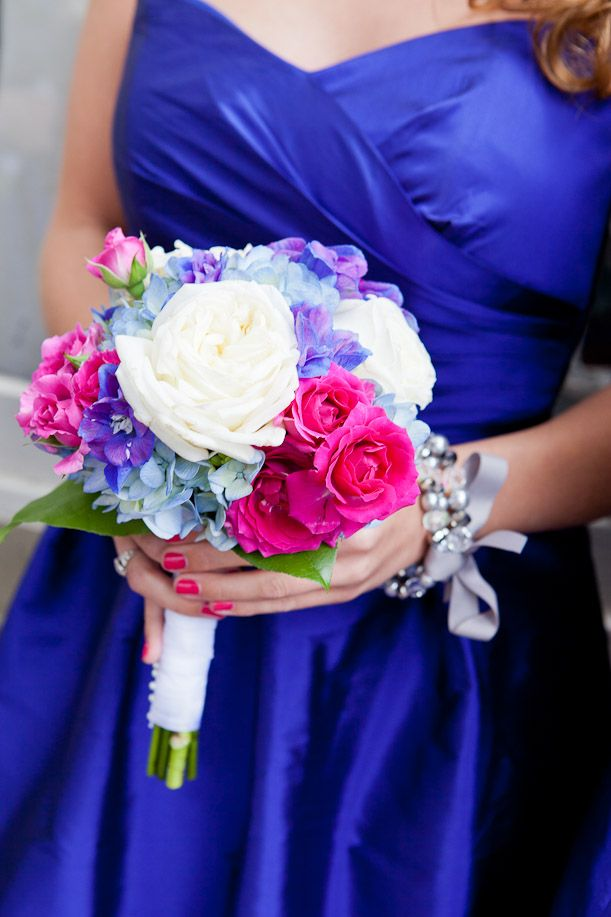 Nashville Garden Wedding | CJ's Off the Square | Cobalt Blue Bridesmaid Dresses - Photo: Evin Photography