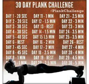 The 30 Day Plank Challenge; Planking challenges, sculpts, and strengthens chest, arms, legs, abs and so many more muscles. I wanna do this!(: