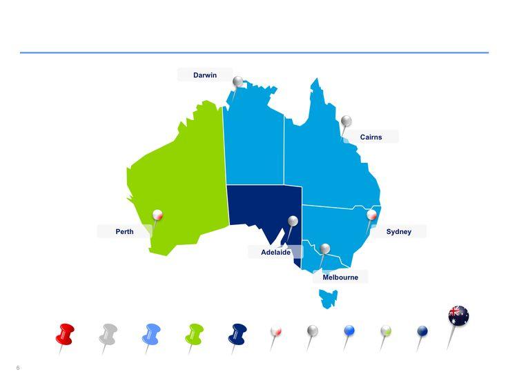 Mapas de Australia editables en Power Point