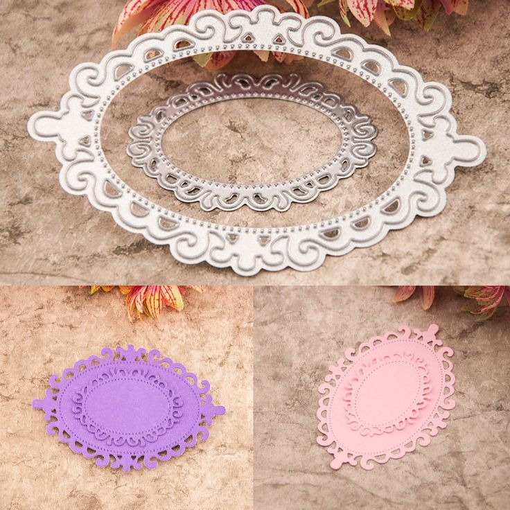2PCS Oval Template Cutting Dies Stencil DIY Scrapbooking Lace Tool
