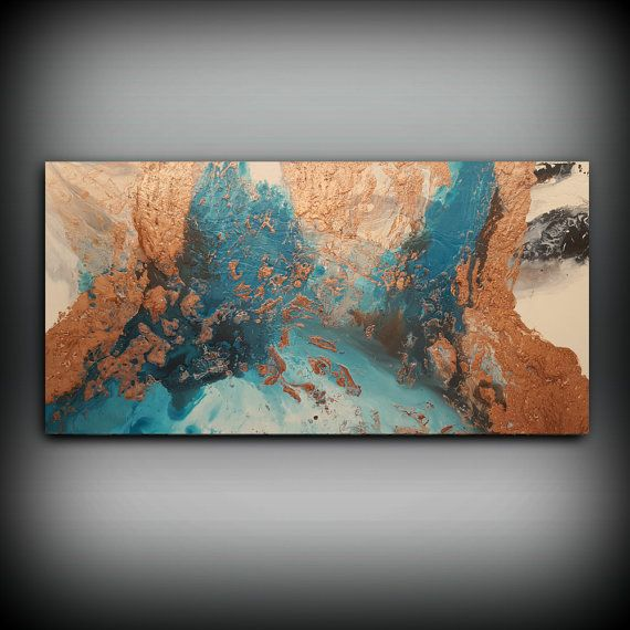 ORIGINAL Painting, Art Painting Acrylic Painting Abstract Painting Copper and Blue Wall Hanging Extra Large Wall Art Modern Wall Decor 30x60 by ldawningscott. Explore more products on http://ldawningscott.etsy.com