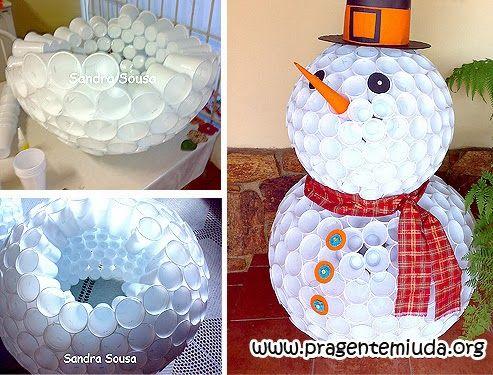 Passo a passo de boneco de neve com copos descartáveis: