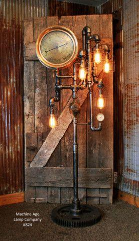 Steampunk, Endüstriyel Boru ve Vintage Buhar Ölçer Lambader # 824