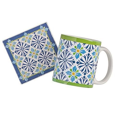 A delightful gift for the tea lover, this ceramic mug will add a bright Mediterranean flair to your teatime. The matching stoneware coaster…