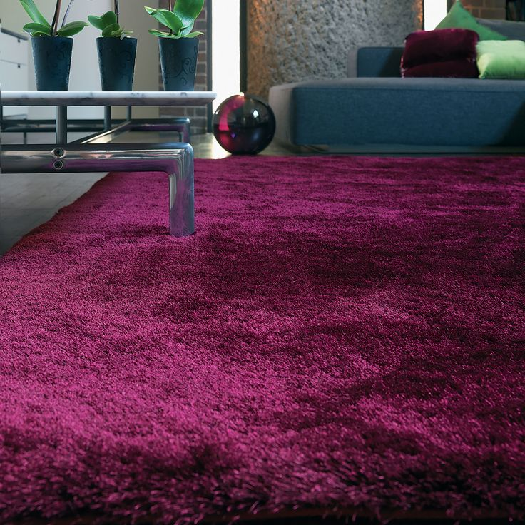 Angora Shaggy Rugs In Plum Buy Online From The Rug Seller Uk