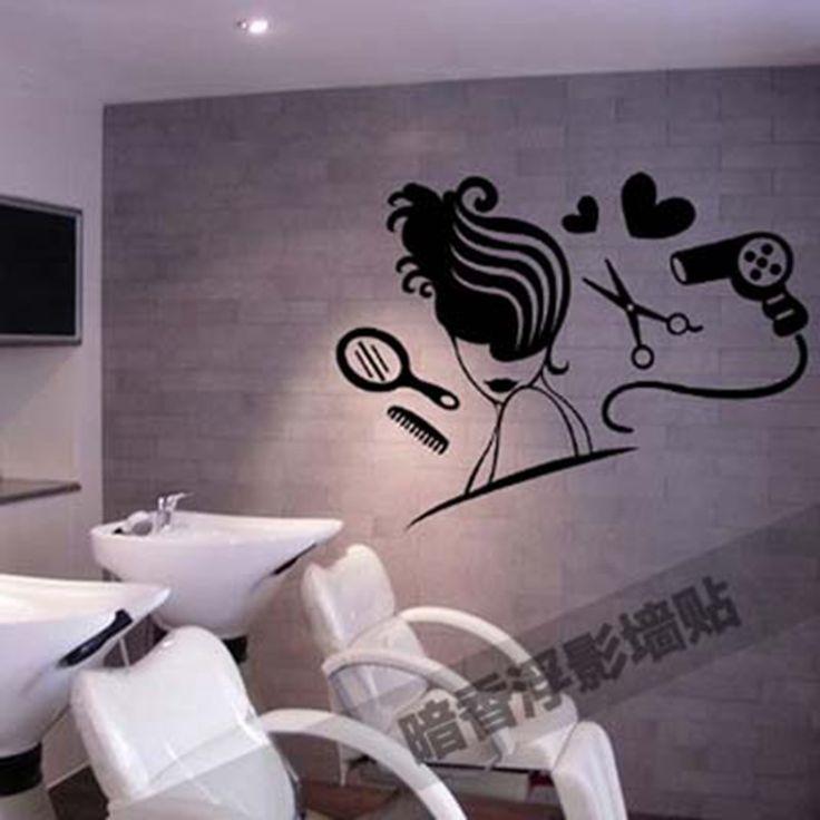 Sexo Meninas Lady Cabelo cabeleireiro Nome Adesivo de Parede Decalque Da Parede Cabeleireiro Corte De Cabelo do Salão de beleza Loja de Decoração de Janelas(China (Mainland))