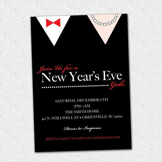New Year's Eve Gala Celebration Bash Party Invitation Black Tie Formal Printable, DIY Digital File