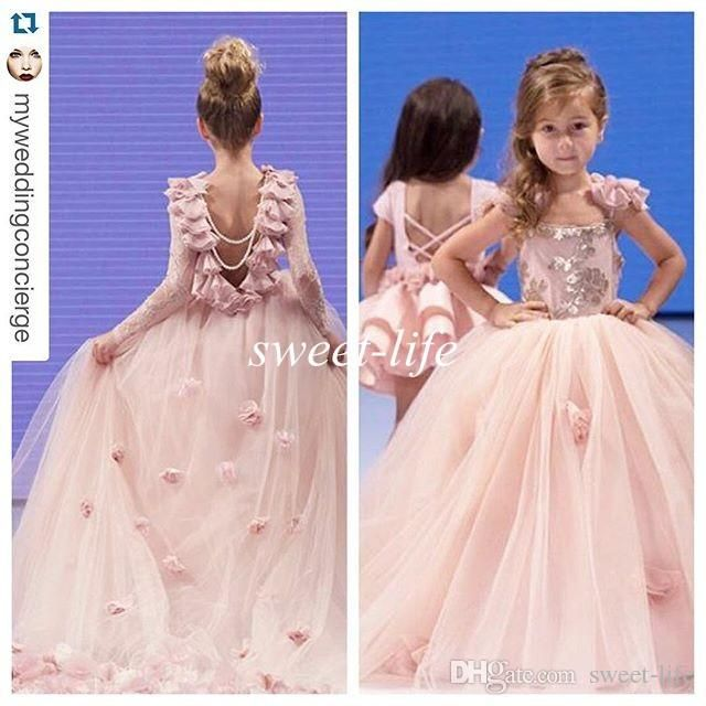 Pink Ball Gown Flower Girl Dresses with Long Sleeves 2016 Flowers Lace Sequin Princess Baby Birthday Wedding Party Gowns Girls Pageant Dress Online with $86.26/Piece on Sweet-life's Store | DHgate.com