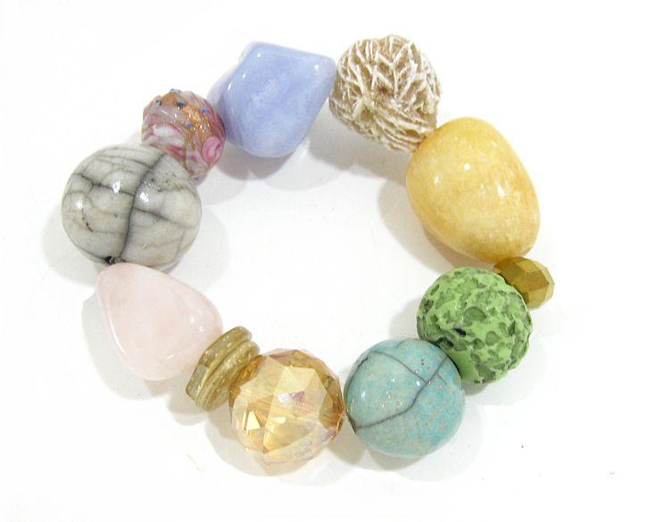 Pastel Ceramic and Stone Bracelet.  Semi-precious and handmade ceramic beads. www.marzipan.co.za