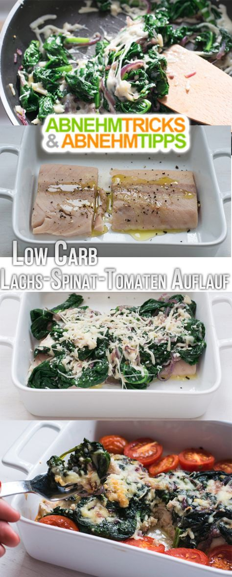 Low Carb Lachs-Spinat-Tomaten Auflauf  Einige von Euch wünschen sich mehr Fischrezepte, deshalb gibt es heute mal wieder ein leckeres Fischgericht. Der Fisch wird mit einer cremigen Spinathaube bedeckt und dazu gibt es noch Ofentomaten. Die Kombination ist super lecker und das Ganze wie immer Low Carb! Es ist perfekt für all diejenigen, die nicht lange auf ihr Essen warten wollen und unkomplizierte Küche lieben, da es im Handumdrehen zubereitet ist und zudem kinderleicht. So schmeckt Spinat…