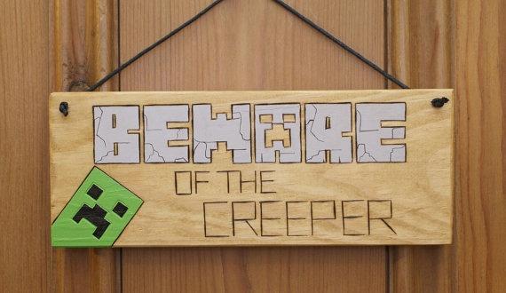 Minecraft Creeper Inspired Wooden Door Plaque Sign BEWARE of the CREEPER Gift Idea