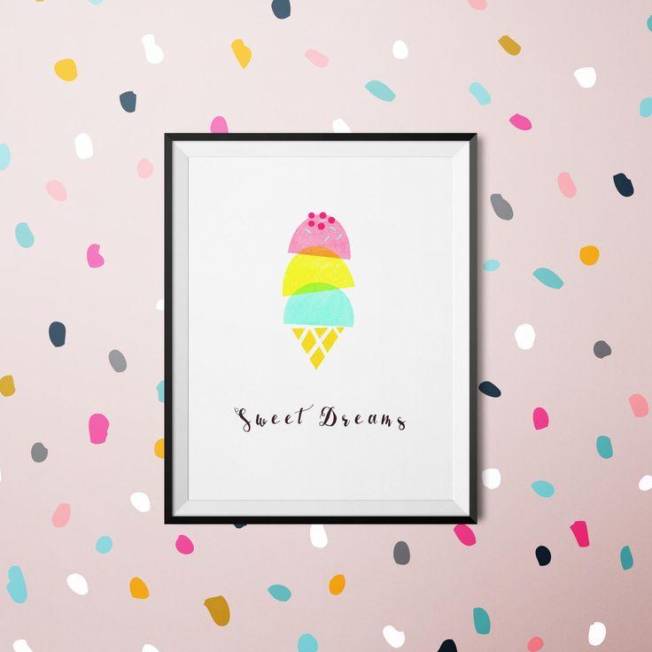 Sweet Dreams | Ice-cream Sprinkles Digital Print - Home Decor - Printable wall art - Handmade using Oil Pastel Crayon Digital Print Download by LittlestArtPrintable on Etsy