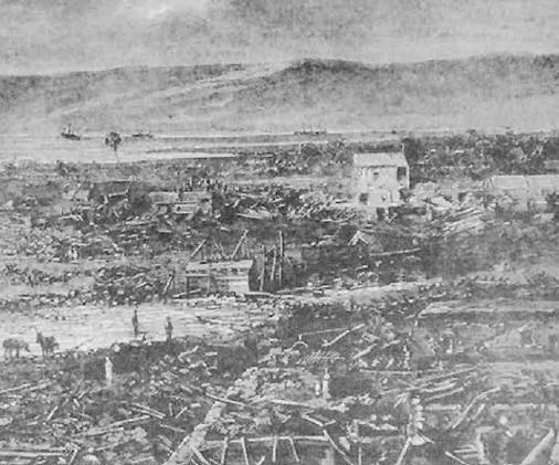Arica despues del terremoro y maremoto de 1868, Al fondo se pueden ver las tres naves: el America, el Charnasilla (o Chañarcillo) y el Wateree. La posicion del America quedo practicamente a orillas del mar.