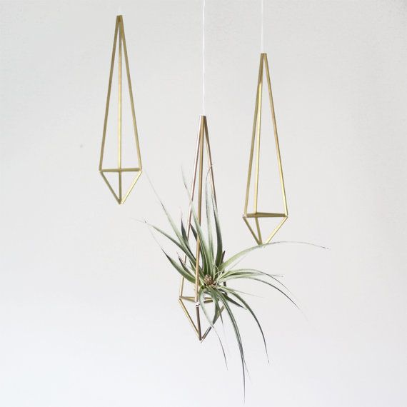 Brass Himmeli Hanging Planter / Hanging Mobile Prism no. 1 / Geometric Ornament / Air Plant Hanger via Etsy