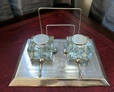 Antique English Silverplate Inkwell Standish Velos Glass Desk Set