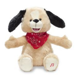 """Bingo My Name-O Singing Animated dog. 11"""" Singing animated puppy flaps his ears and claps to the song """"Bingo"""". Runs on three AA batteries."""