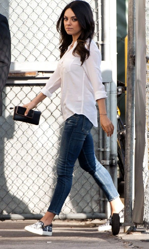 Mila Kunis Dresses Down A White Shirt - Thursday 5th February