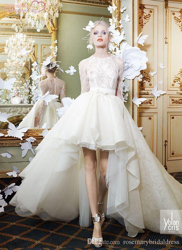 Wedding Dresses Vintage Short Front Long Back Lace Organza Sleeve Custom Made Plus