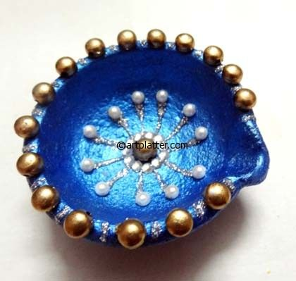Decorative Diyas for Diwali - Metallic Shades • Art Platter
