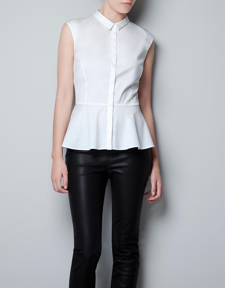 chemise en popeline, sans manches, à basque // zara // 0812