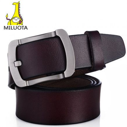 Belt for Men 100% Genuine Leather Strap Male Metal Pin Buckle Vintage Mens belts Luxury