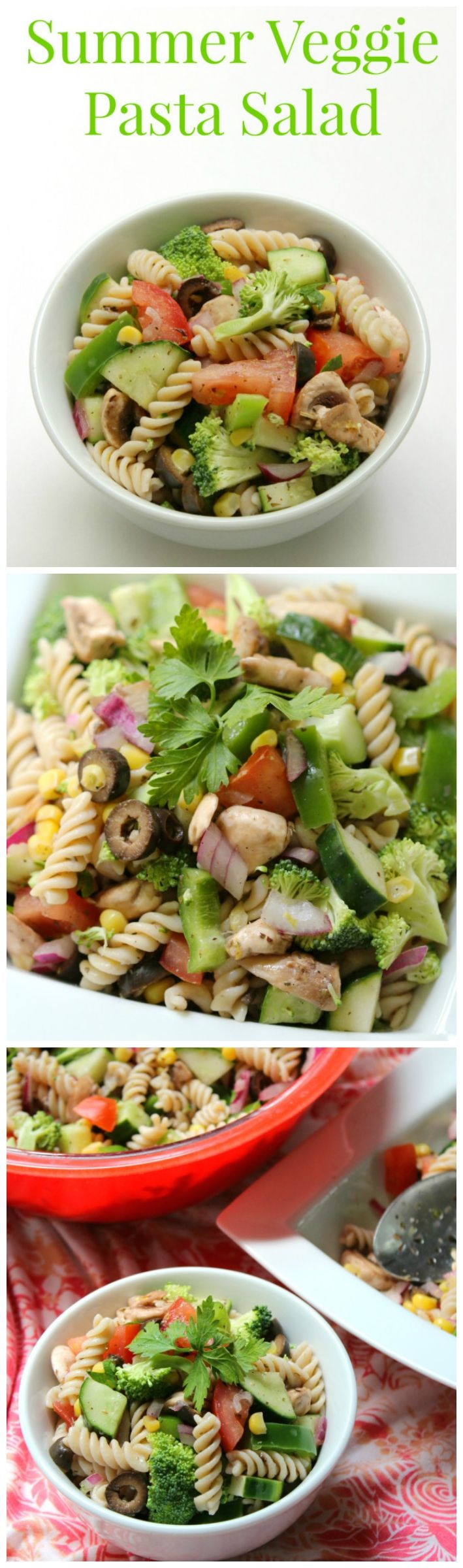 Summer Veggie Pasta Salad - Summer isn't complete without the pasta salad! This gluten-free, allergy-friendly, vegan pasta salad is packed with bright summer veggies and tossed with a zesty Italian oil-free dressing. A classic made healthy and safe for everyone to enjoy at any summer cook-out!