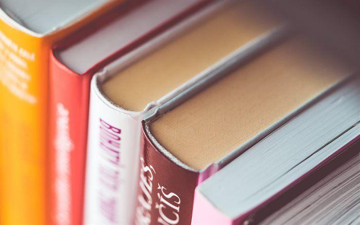 Books, bookshelf, library, binding