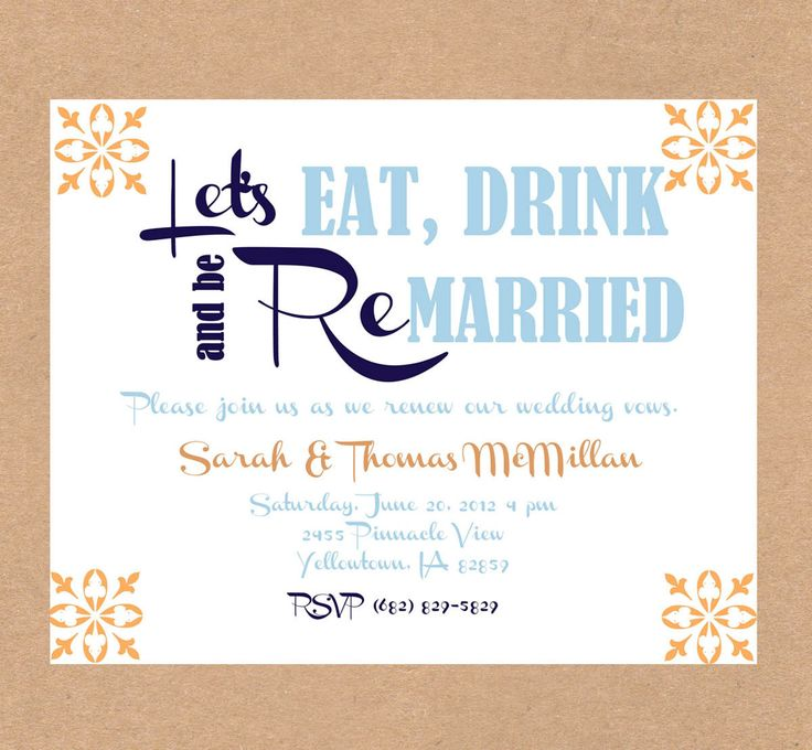 Vow renewal invitation- eat drink and be married-  Anniversary party invitation- Digital- Coral and navy. $0.75, via Etsy.