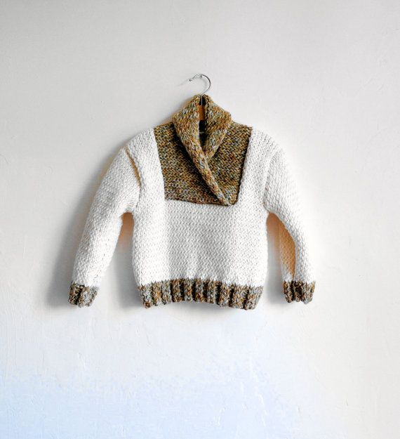 Hand Knitted Wool Baby,Toddler Sweater, Chunky, Ivory and Melanges Brown,Ivory,Magic Mint, 2-3 years, READY TO SHIP on Etsy, $44.51 CAD