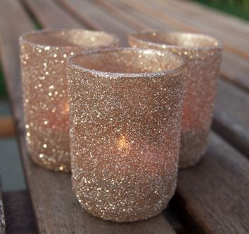 Votive holders in Champagne glitter