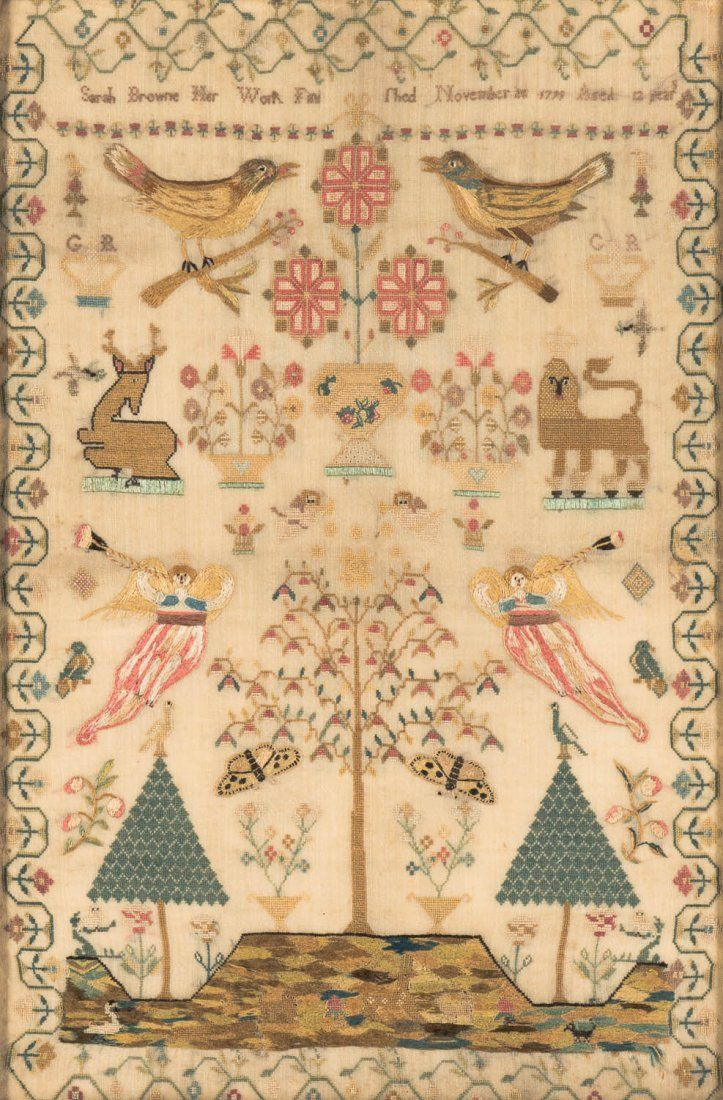 A George III linen cross-stitch needlework sampler, English, 18th century, worked by Sarah Browne and dated 1799