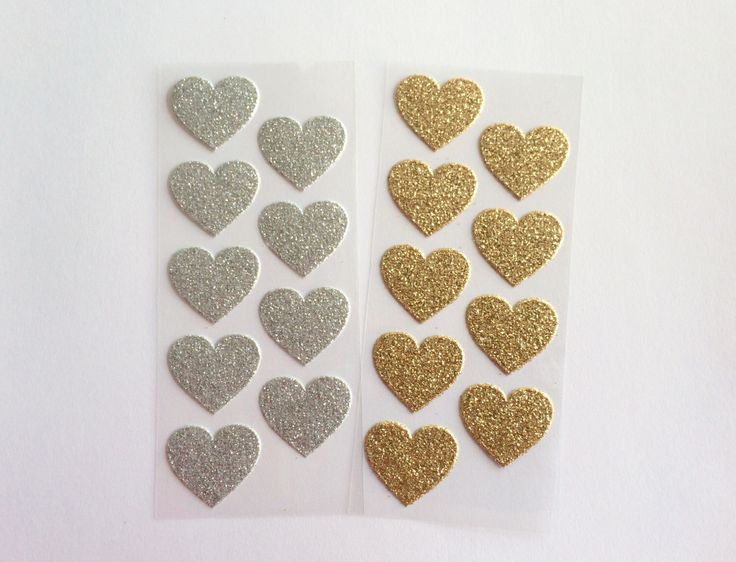 Gold Glitter Heart Stickers.Silver glitter.Envelope seals, invitations, thank you cards/notes.Wedding, bridal/baby shower, engagement party. by SnowflakeDesigns2015 on Etsy https://www.etsy.com/listing/238861475/gold-glitter-heart-stickerssilver
