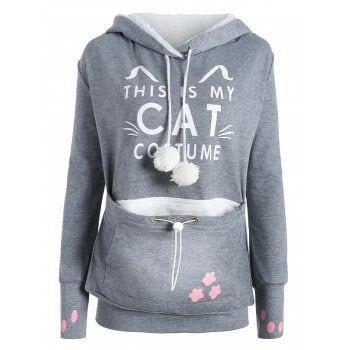 Plus Size Cat Kangaroo Pouch Pocket Hoodie - GRAY XL