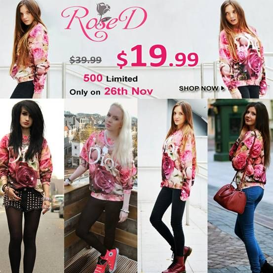 "Romwe ""Rose D"" flash sale, only 24 hours! $19.99 only, with original price $39.99, on 26th November! 500 pieces, but size M is only 200 pieces! 4507 customers have already added ""Rose D"" to their shopping bag, so adding it into your shopping bag in advance, and then you can pay directly when it begins just in case it's sold out. Go >> http://www.romwe.com/letters-roses-print-sweatshirt-p-75671.html And a special coupon for you, my lovely fans, on 26th Nov. to buy ""Rose D"" : 10%offrosed"