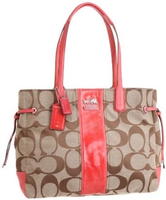 A gorgeous Signature jacquard handbag from Coach with leather accents in the hottest color of the season.
