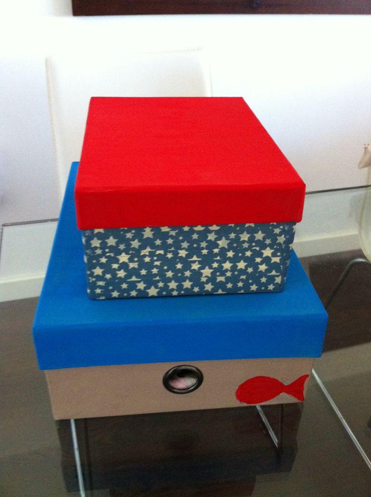 Cajas pintadas con washi tape