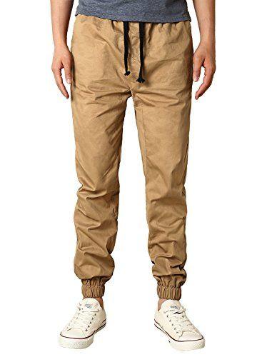 HEMOON Mens Regular Fit Twill Chino Harem Jogger Pants Large P06-Khaki