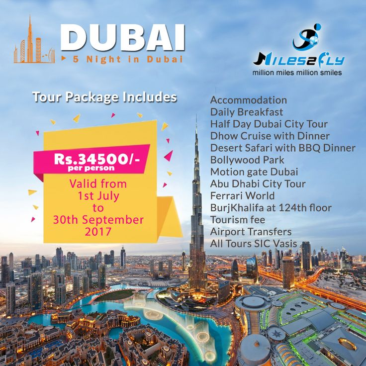 Book Dubai Holiday Packages with #Miles2fly. Experience best of #Dubai Tour at a reasonable price & enjoy a refreshing holiday.  Tour package includes, #Accommodation #Daily Breakfast #Half Day Dubai City Tour #Dhow Cruise with Dinner #Desert Safari with BBQ Dinner #Bollywood Park #Motion gate Dubai #Abu Dhabi City Tour #Ferrari World #BurjKhalifa at 124th floor #Tourism fee #Airport Transfers #All Tours SIC Vasis  To know more about tour packages, visit…