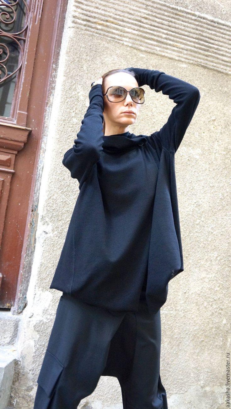 Купить Кардиган - черный, кардиган, модный кардиган, черный кардиган, длинная кофта, кардиган с рукавами