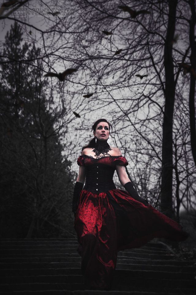Vampire Style Darkart for Twilight fan model in this beautiful red gothic dress.