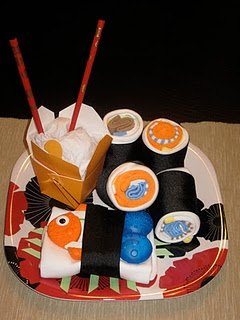 My baby shower sushi platter.  Onsies, socks, washcloths and a teether